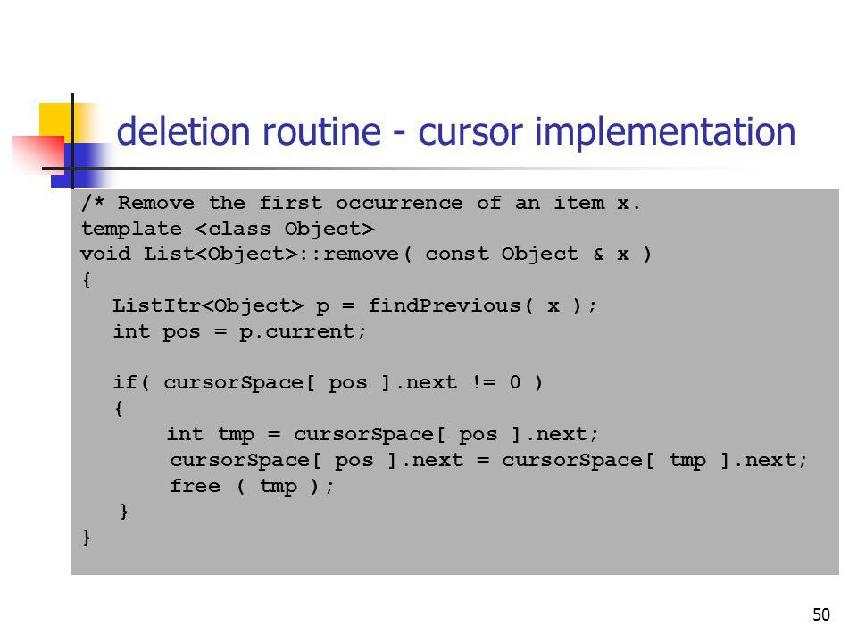 deletion routine - cursor implementation