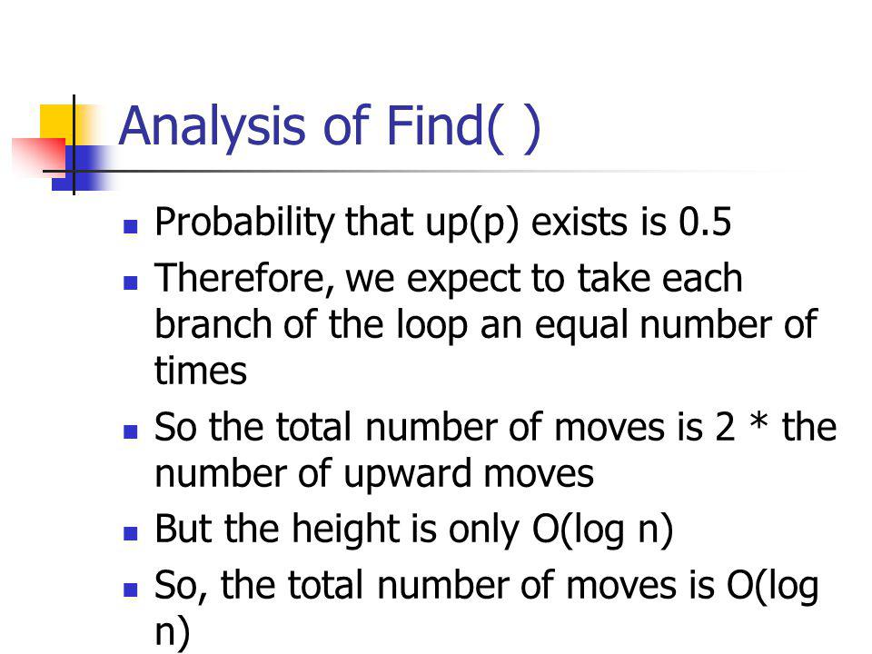 Analysis of Find( ) Probability that up(p) exists is 0.5
