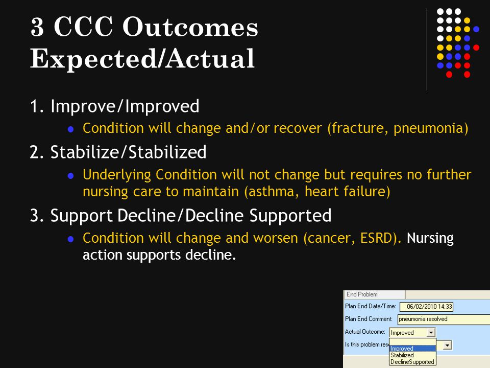 3 CCC Outcomes Expected/Actual