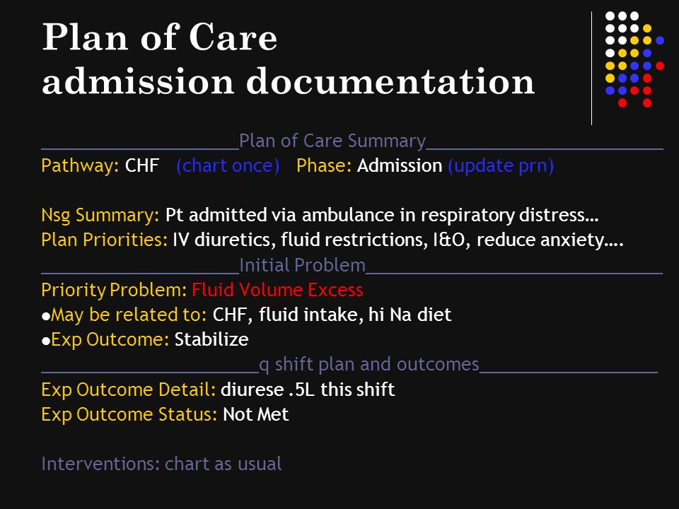 Plan of Care admission documentation