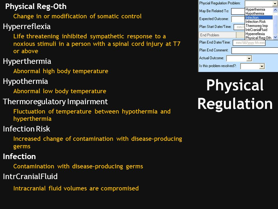 Physical Regulation Physical Reg-Oth Hyperreflexia Hyperthermia
