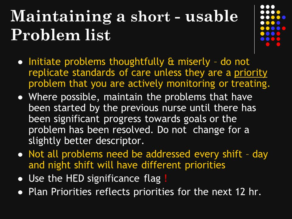 Maintaining a short - usable Problem list