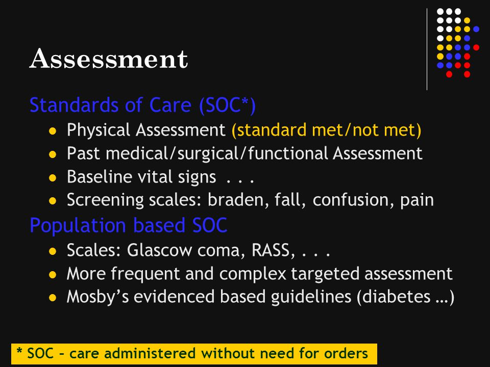 Assessment Standards of Care (SOC*) Population based SOC