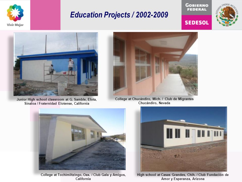 Education Projects / 2002-2009 Junior High school classroom at G. Samble, Elota, Sinaloa / Fraternidad Elotense, California.