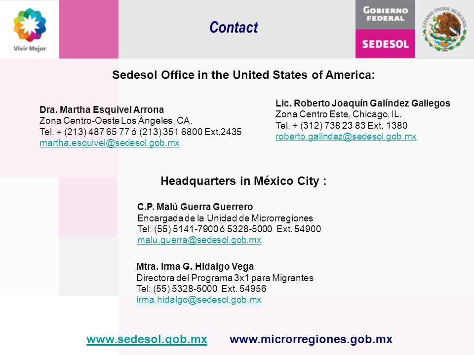 Contact Sedesol Office in the United States of America: