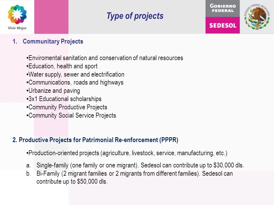 Type of projects Communitary Projects