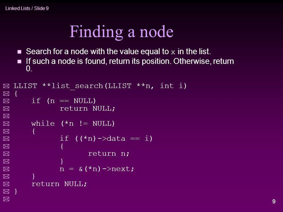 Finding a node Search for a node with the value equal to x in the list. If such a node is found, return its position. Otherwise, return 0.