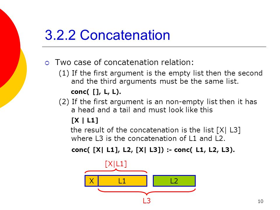 3.2.2 Concatenation Two case of concatenation relation: