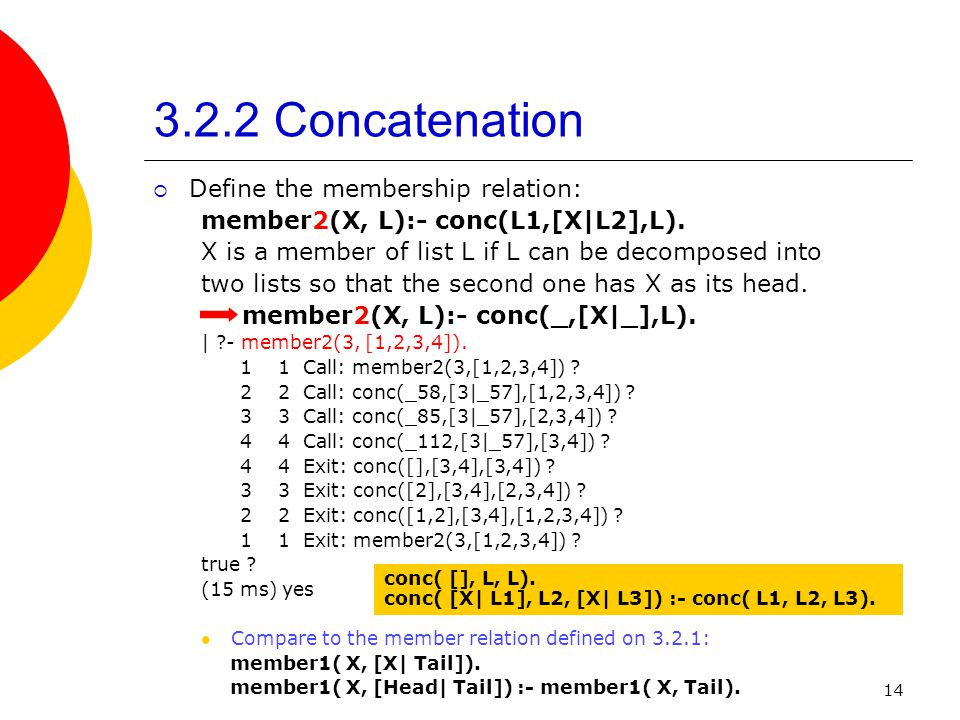 3.2.2 Concatenation Define the membership relation: