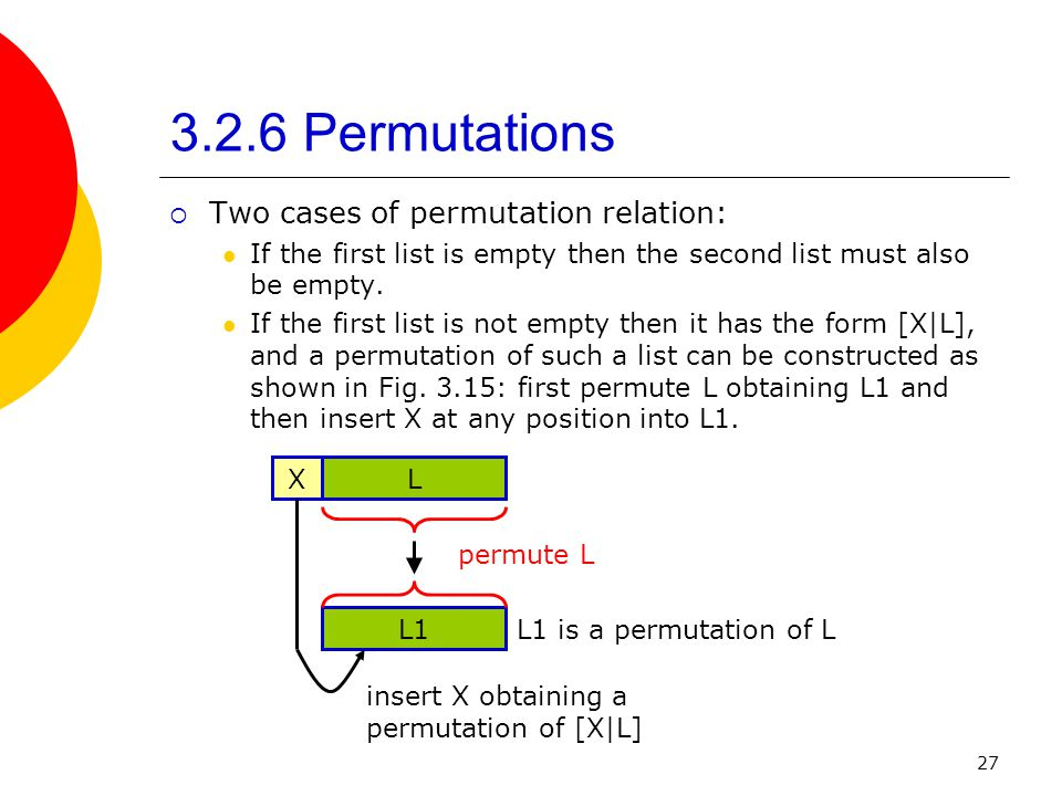 3.2.6 Permutations Two cases of permutation relation: