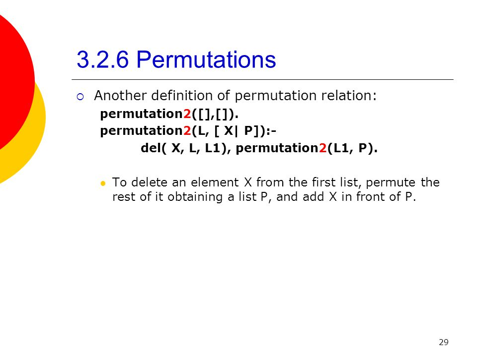3.2.6 Permutations Another definition of permutation relation: