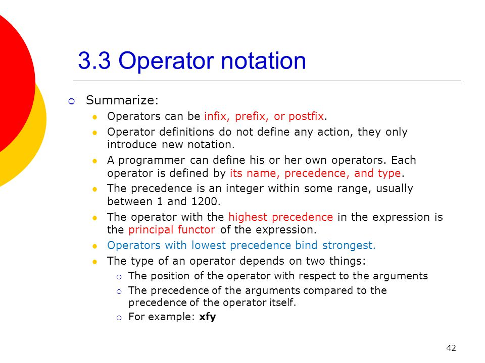 3.3 Operator notation Summarize: