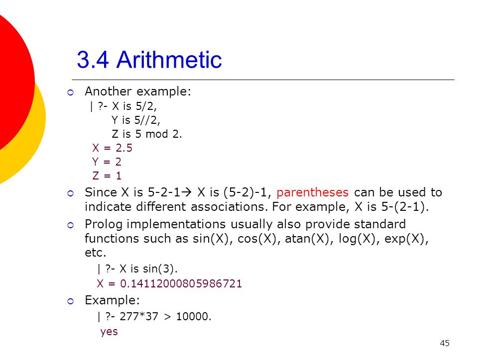 3.4 Arithmetic Another example: