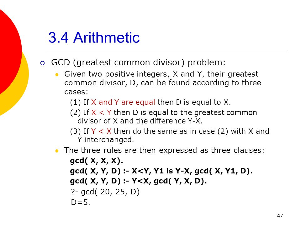 3.4 Arithmetic GCD (greatest common divisor) problem: