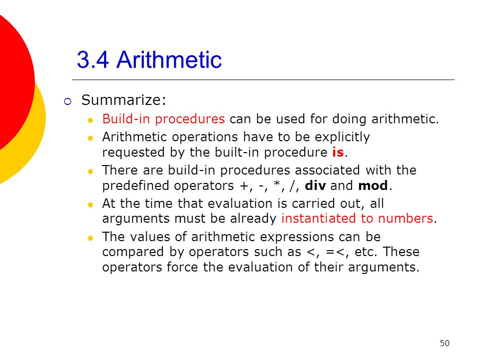 3.4 Arithmetic Summarize: