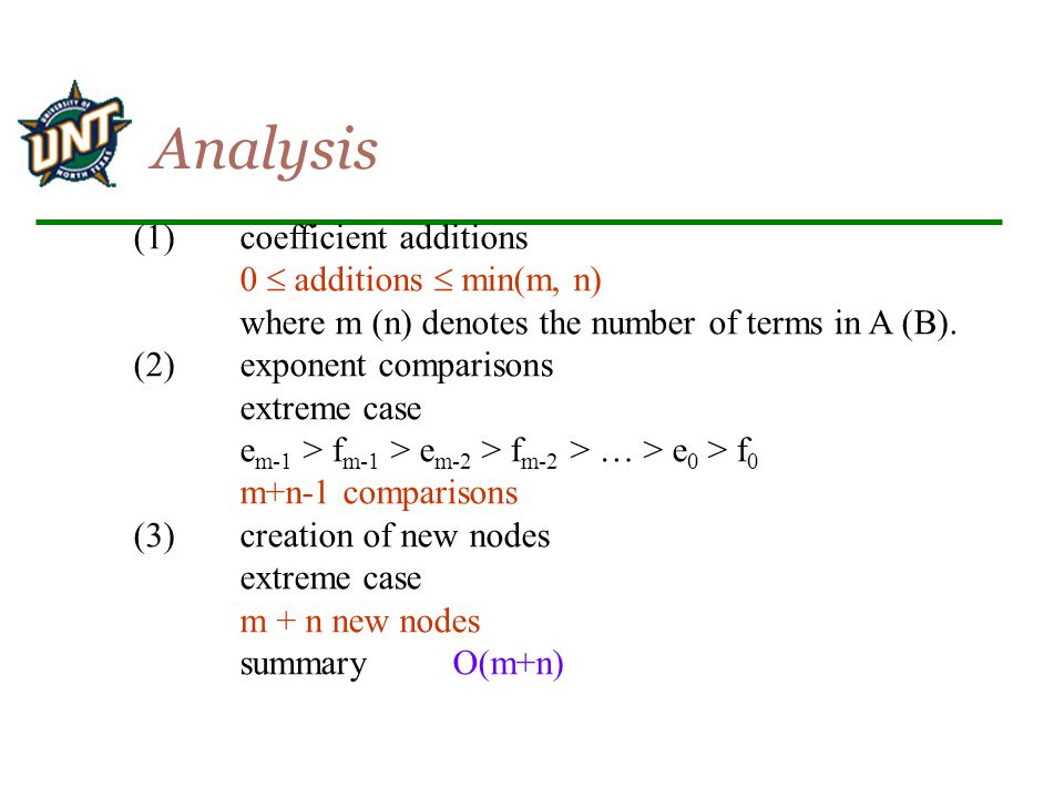 Analysis (1) coefficient additions 0  additions  min(m, n)