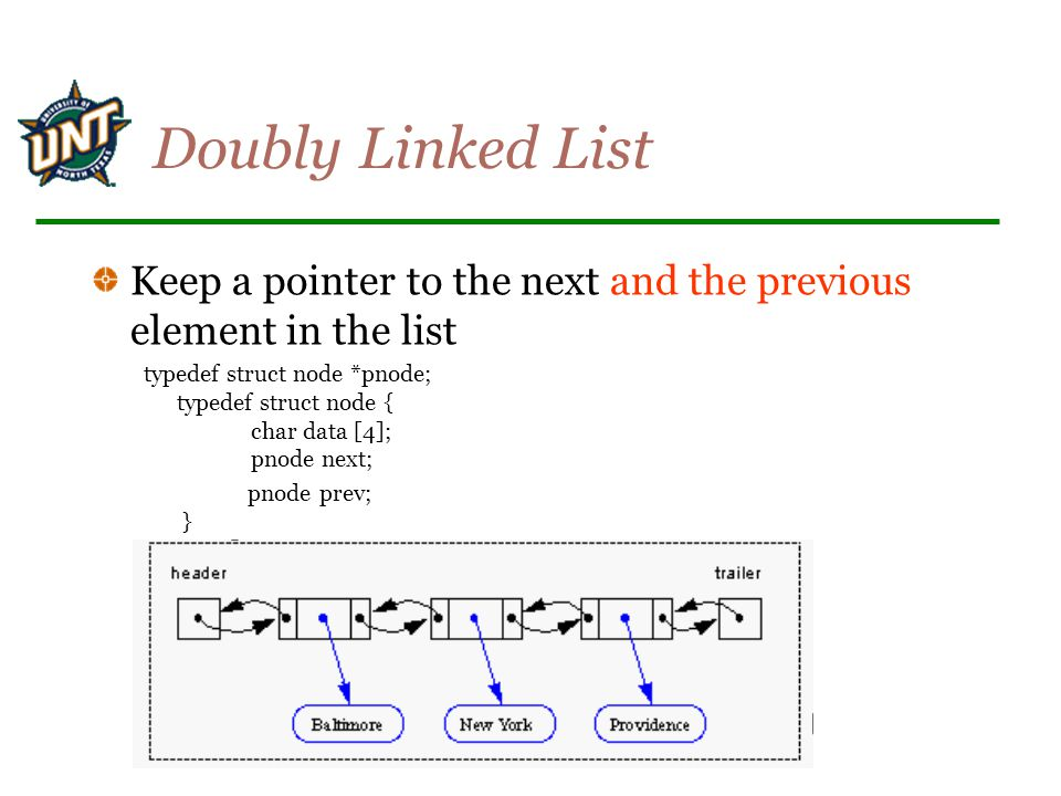 Doubly Linked List Keep a pointer to the next and the previous element in the list.