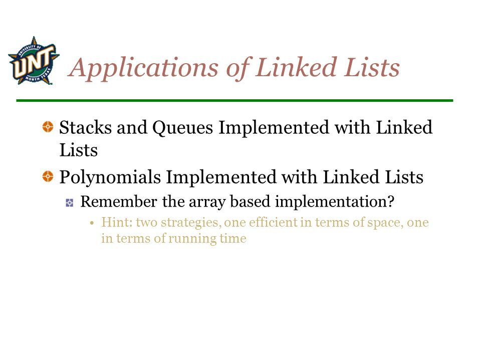 Applications of Linked Lists