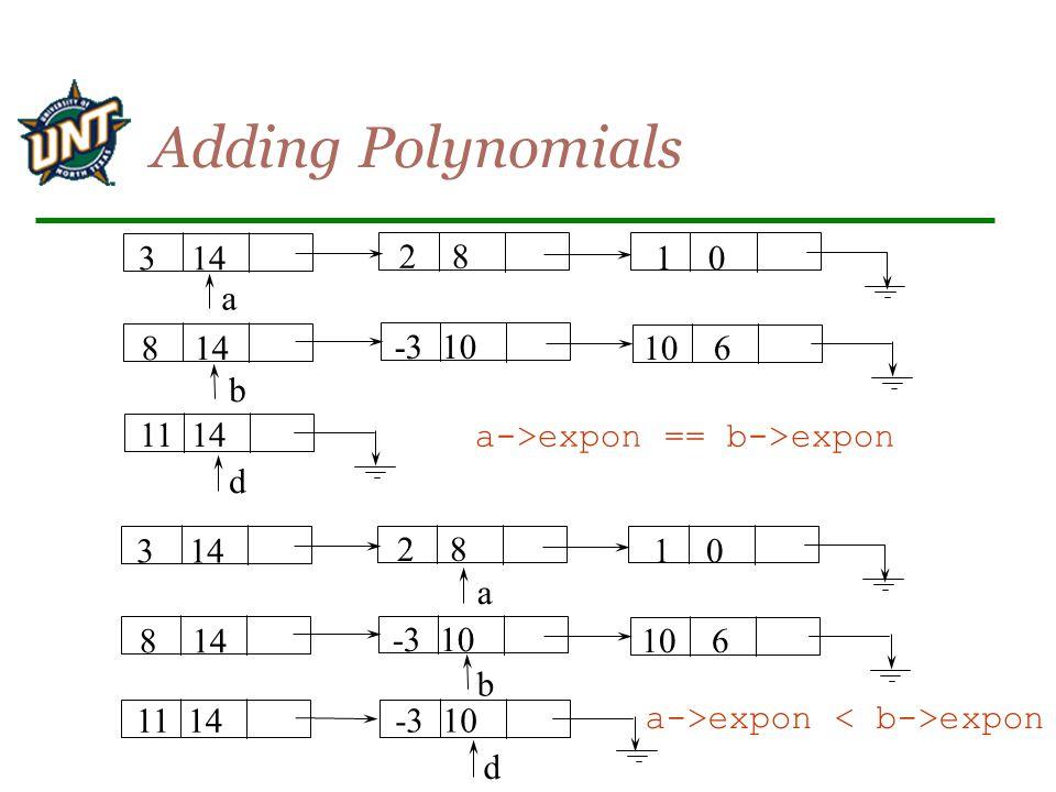 Adding Polynomials 3 14 2 8 1 0 a 8 14 -3 10 10 6 b 11 14