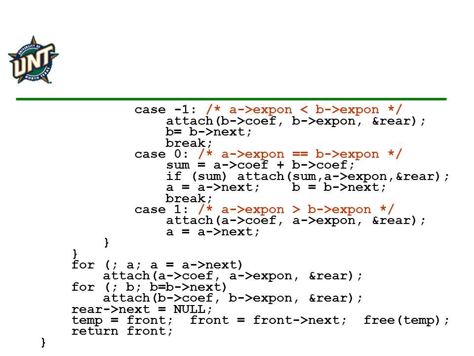 case -1: /* a->expon < b->expon */