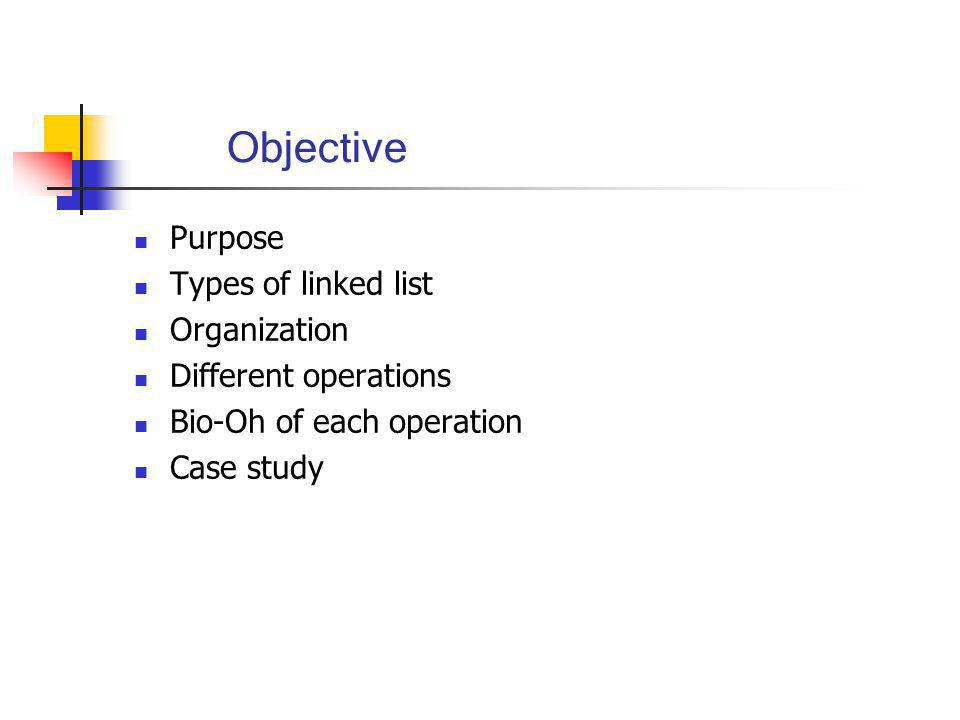 Objective Purpose Types of linked list Organization