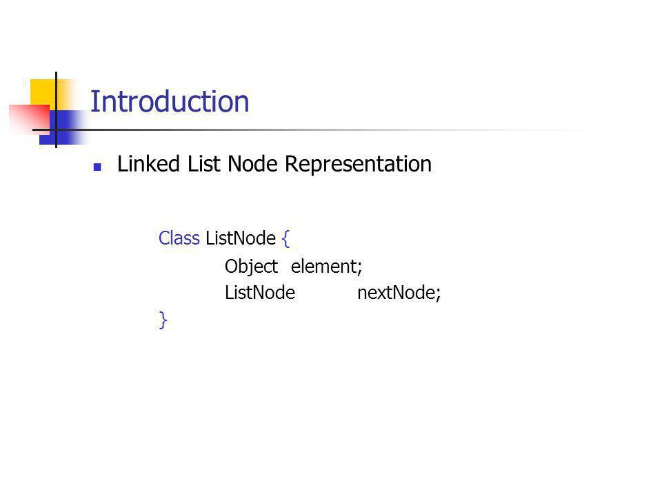 Introduction Class ListNode { Linked List Node Representation