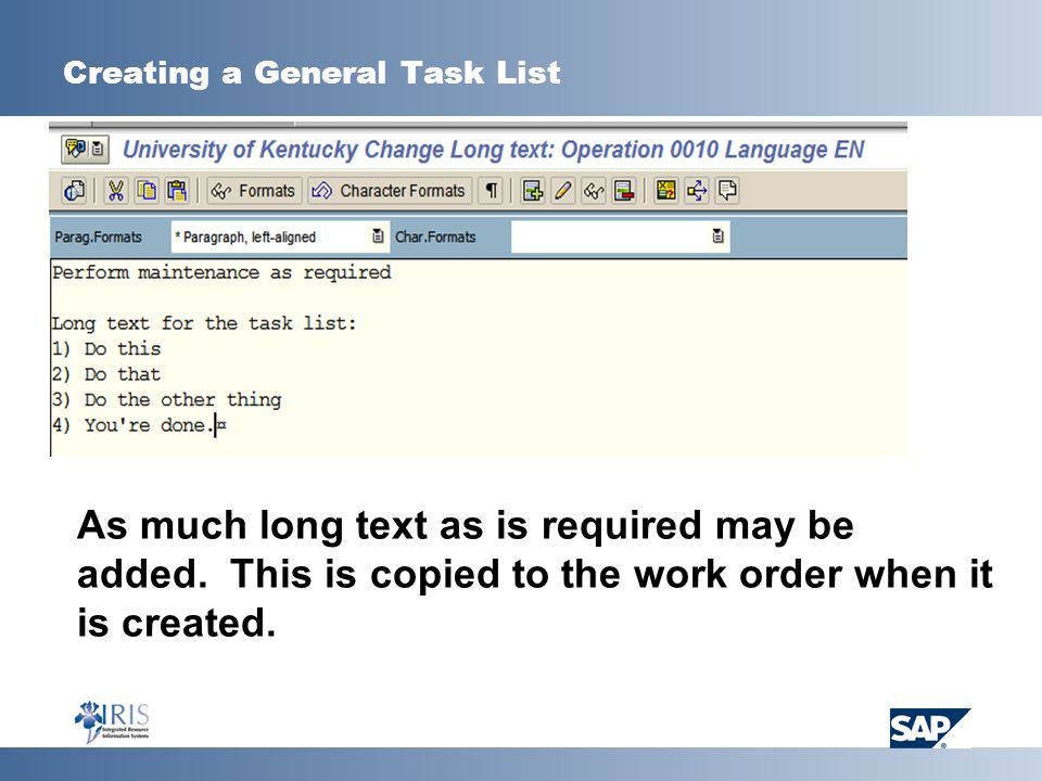 Creating a General Task List