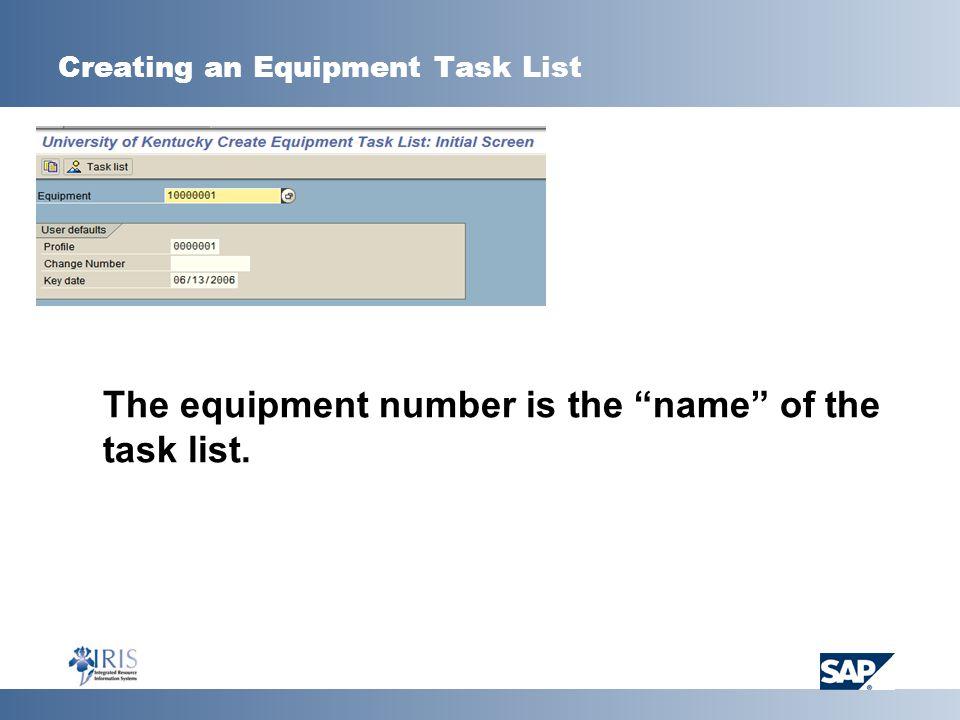 Creating an Equipment Task List