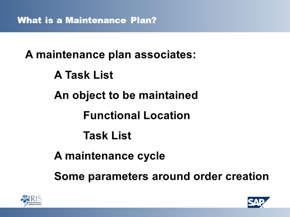 What is a Maintenance Plan