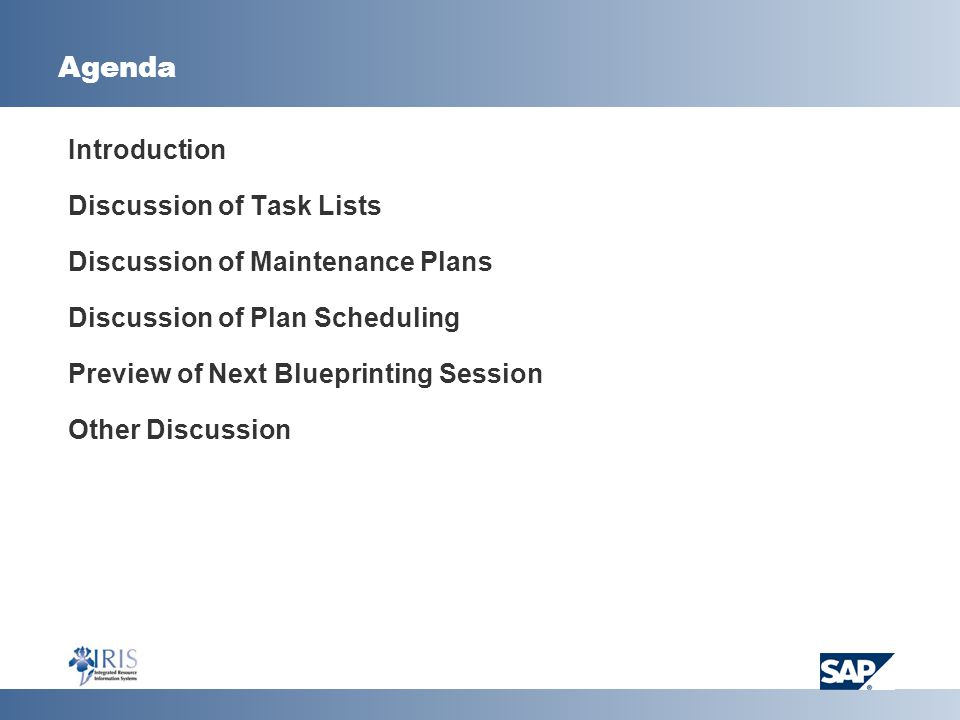 Agenda Introduction Discussion of Task Lists