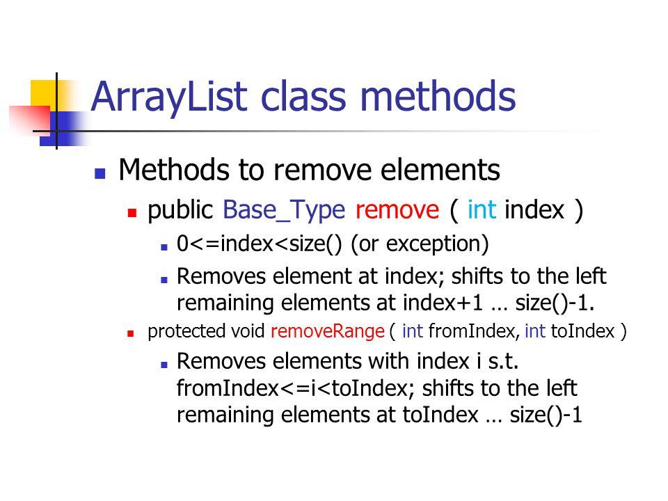 ArrayList class methods