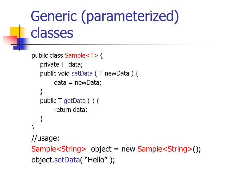 Generic (parameterized) classes