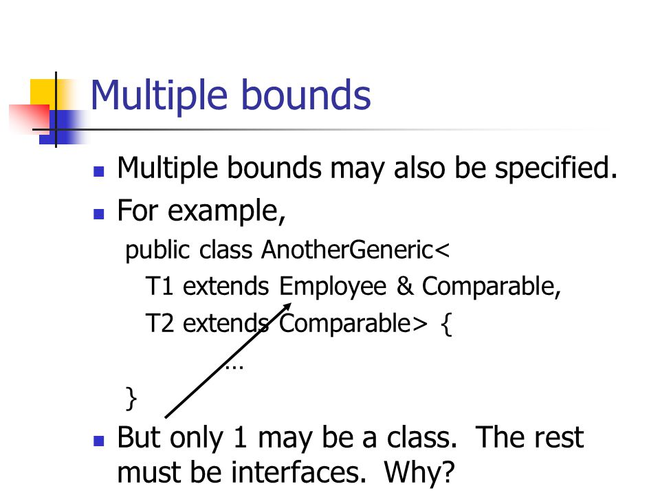 Multiple bounds Multiple bounds may also be specified. For example,
