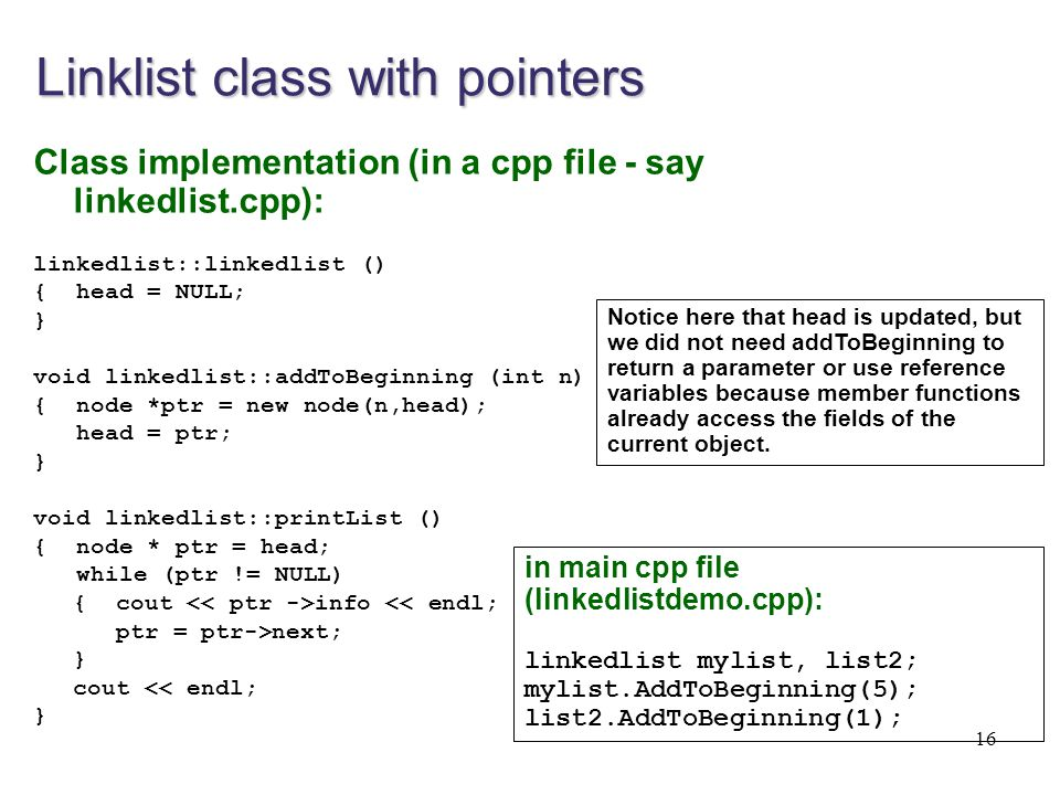 Linklist class with pointers