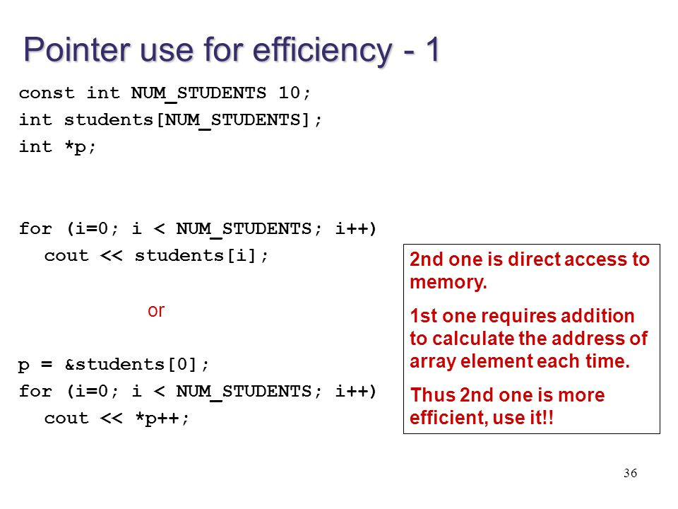 Pointer use for efficiency - 1