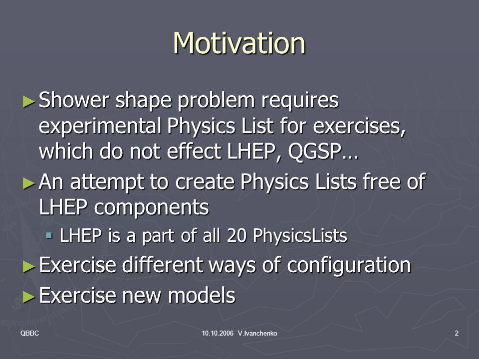 Motivation Shower shape problem requires experimental Physics List for exercises, which do not effect LHEP, QGSP…