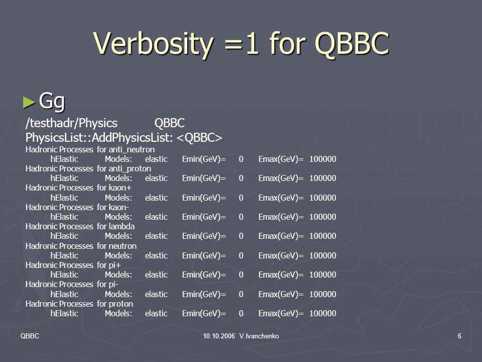 Verbosity =1 for QBBC Gg /testhadr/Physics QBBC