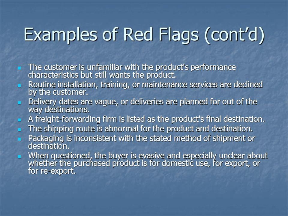 Examples of Red Flags (cont'd)