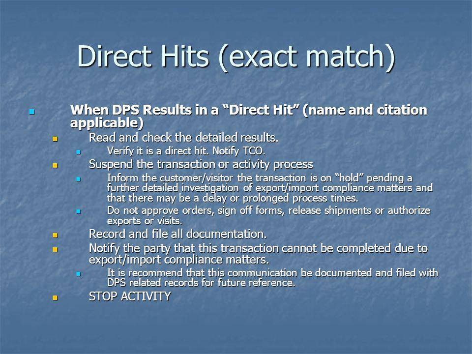 Direct Hits (exact match)