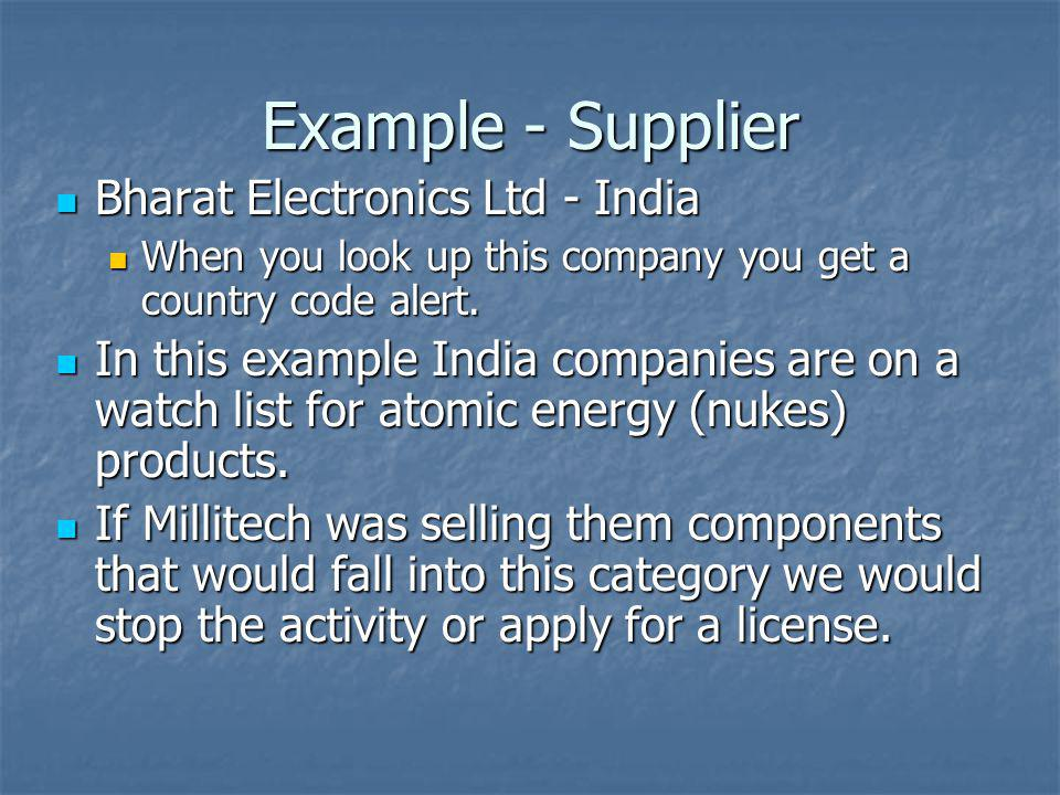 Example - Supplier Bharat Electronics Ltd - India