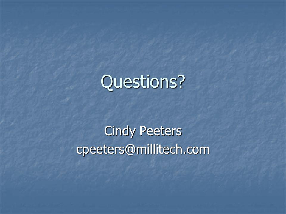 Cindy Peeters cpeeters@millitech.com