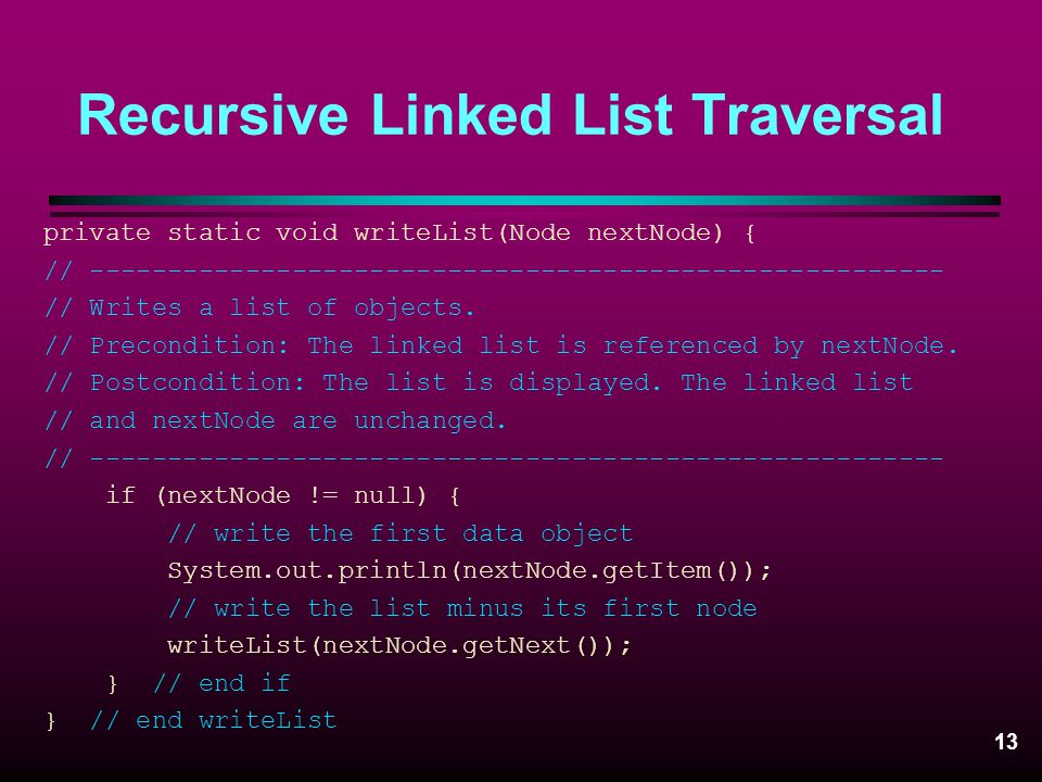 Recursive Linked List Traversal