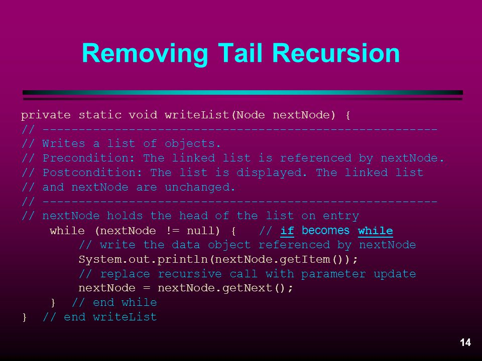 Removing Tail Recursion