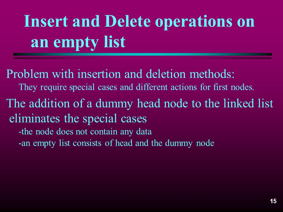 Insert and Delete operations on an empty list