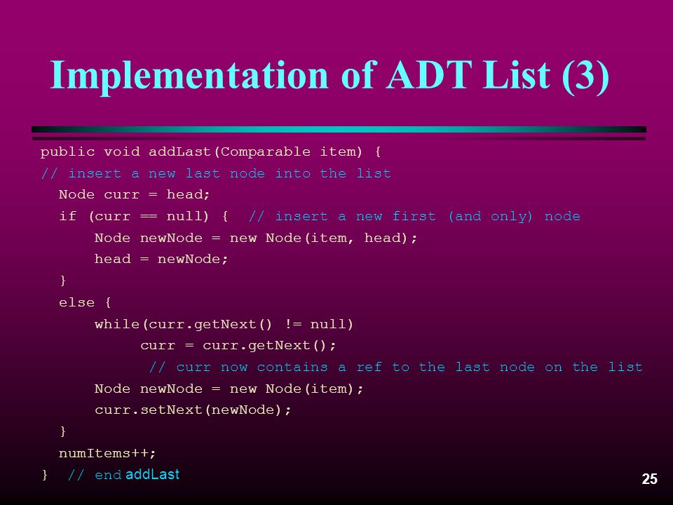 Implementation of ADT List (3)