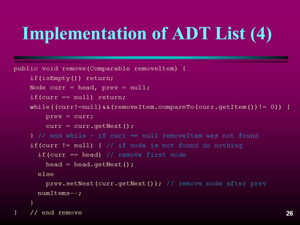 Implementation of ADT List (4)