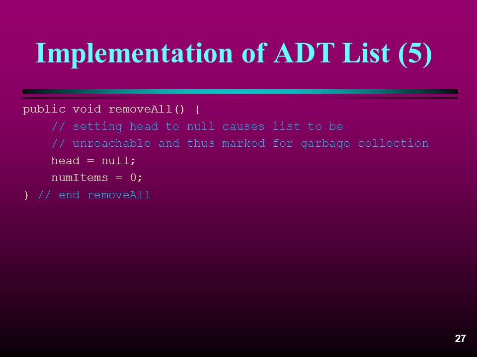 Implementation of ADT List (5)