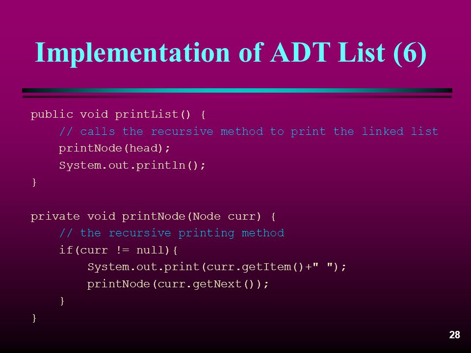 Implementation of ADT List (6)