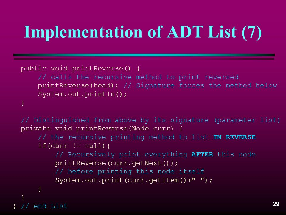 Implementation of ADT List (7)