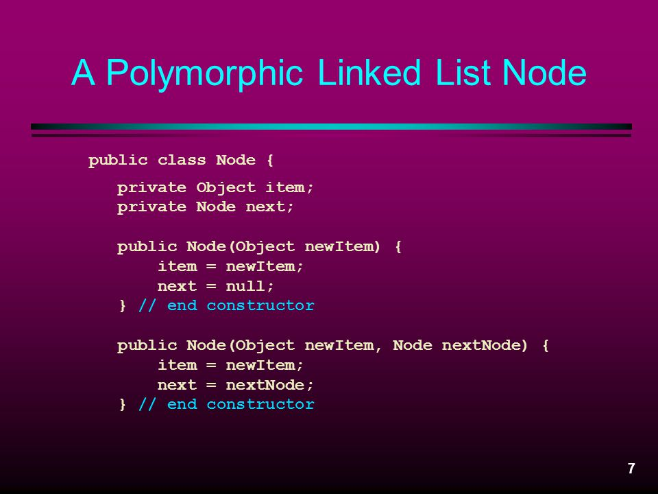 A Polymorphic Linked List Node
